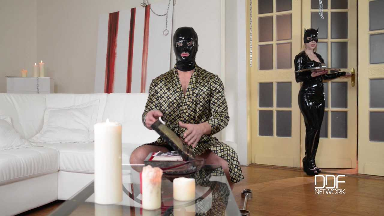Russian Latex Femdom Babe Takes Charge of Submissive Stud